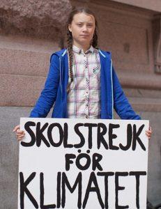 Грета бастует с плакатом