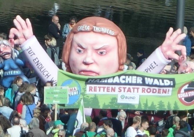 Кукла Греты на забастовке